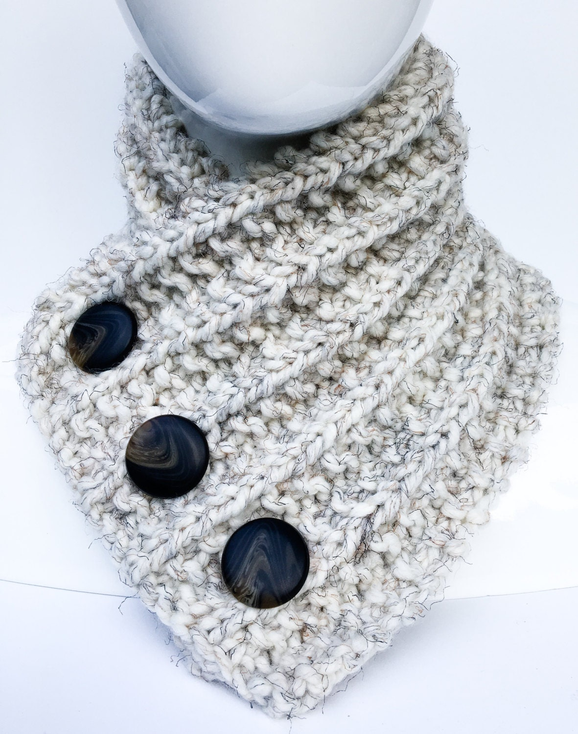 Hand Knit Neck Warmer, Neck Warmer with Buttons, Button Cowl, Wheat ...