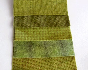 "Hand Dyed Felted Wool Fabric in Moss Green  5"" x 5""  Wool Charm Pack of 5"
