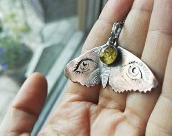 Moth Silhouette Pendant ~ Sterling Silver, Copper and Green Amber ~ Necklace ~ Grungy Dark Steampunk -