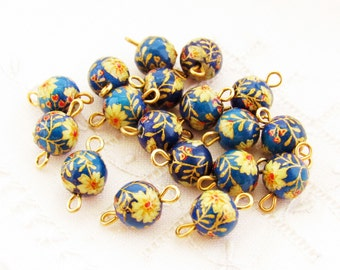 Vintage 8mm Blue and Gold Flower Tensha Glass Beads Connector with Brass Loops - 6