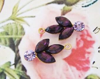 Amethyst & Violet Swarovski Rhinestone Flower Leaf Dangles Drops Charms Vintage Glass Stones in Brass Flower Settings - 2