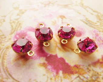 Fuchsia Pink 8mm Round Swarovski Rhinestone in Brass Prong Drop or Connector Settings - 4