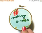 SHOP CLOSING SALE - Merry X-mas Ornament : Embroidery Hoop Art - Small Blue Christmas Holiday Decoration