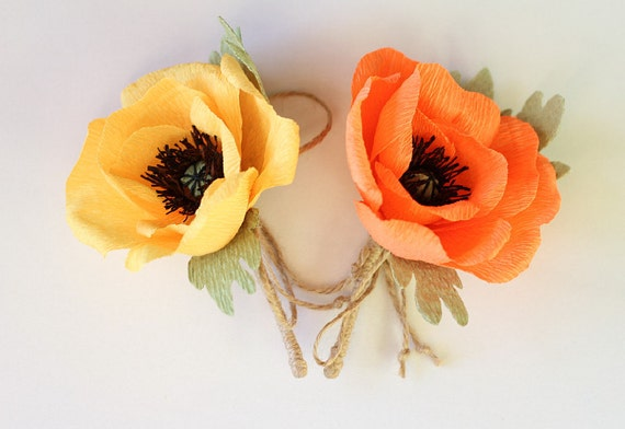 Wedding Flowers Poppy Buttonhole Wedding Poppies Paper Flowers Grooms