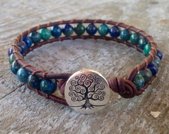 blue chrysocolla beaded leather wrap bracelet with tree for throat chakra teal aqua unisex men women