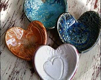 Pottery Heart - Ring Trinket Dish, Teabag Holder