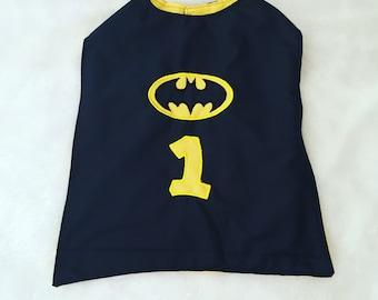 Batman, cape, costume, super hero,NB 3  6 9 12 24 months, size 2 3 4 5T