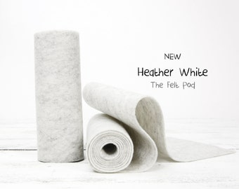 "100 Percent Wool Felt Roll - Wool Felt color HEATHER WHITE - 5"" X 36"" Wool Felt - 100% Wool Felt"