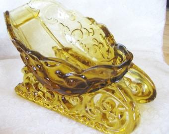 Gorgeous Amber Santa Sleigh Art glass Candy dish centerpiece  Very good RARE