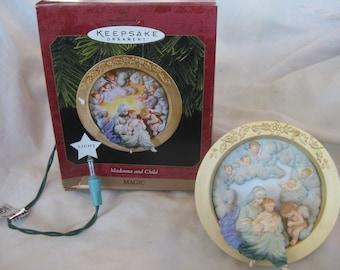 Hallmark magic Christmas  Madonna and Child ornament  Very good Mary Jesus Lighted ornaments In Original Box