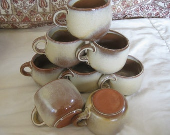 Vintage Frankoma Desert Gold Mugs  cups Set of 4 included  TWO sets of 4 available Made is USA Very good