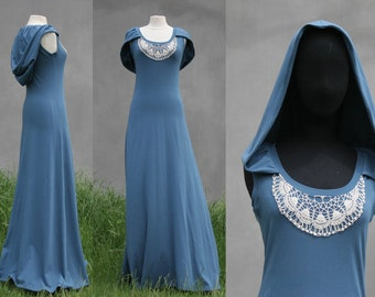 Blue hooded maxi dress, size Small, extra long maxi dress, Victorian XXL hood, organic cotton jersey, organic woman clothing, Solmode, OOAK