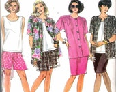 "Vintage 1993 Simplicity 8447 Women's Skirt, Shorts, Tank Top & Shirt-Jacket Sewing Pattern Size FF 18W - 24 W Bust 40"" - 46"" UNCUT"
