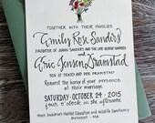 Floral Wildflower Bouquet Calligraphy Wedding Invitation