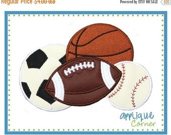 ON SALE Sport Balls, soccer, football, basketball and baseball applique digital design for embroidery machine by Applique Corner