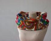 floral wool scarf, vintage Russian shawl, Russian cowl scarf, roses scarf, wool cowl scarf, East European shawl, Ukrainian scarf wool 166