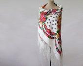 Reserved - shawl, silk cotton shawl, large shawl, floral tablecloth, tasseled shawl, babushka, white with pink and purple, folk rustic