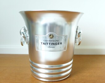 Vintage aluminum Taittinger Champagne ice bucket with grape vine handles, Argit made in France