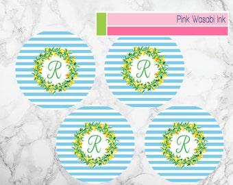 Melamine Plate Set Personalized Melamine Plates Monogrammed Plates Plate Set With Lemons Choose Colors
