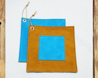Pot Holders/Hot Pads, brown & turquoise