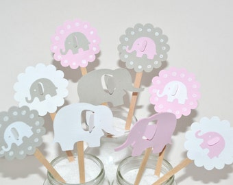12 Pink & Grey Elephant Cupcake Toppers / Elephant Baby Shower / Elephant Cupcake Toppers / Elephant Party Decor / Elephant Party Invitation