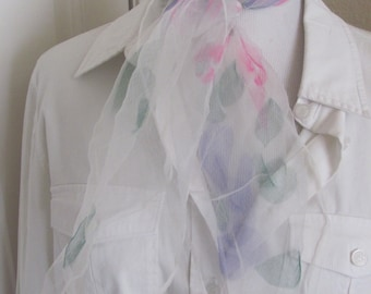 Scarf White Pink Patterned Sheer Nylon Scarf Square - Affordable Scarves!!! Why Pay More! (32B)