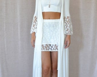 Bell Sleeves Duster in Ivory