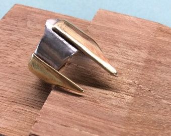 Fierce ring for work or play. Athena's helmet - sterling silver and brass handmade ring
