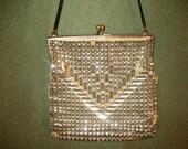 Antique Rhinestone Handbag with Beaded Chevron Design