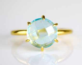 London Blue Topaz Ring, December Birthstone Ring, Gemstone Ring, Stacking Ring, Gold Ring, Round Ring, prong set ring size 5 6, size 7 8 9