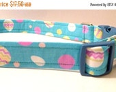 "Sale 50% Off Easter Collar - Blue with Easter Eggs -""Easter"" - NO EXTRA Charge for colored buckles"