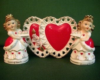 Vintage Queen of Hearts Alice in Wonderland Salt Pepper Shakers Heart Planter Vase Napkin Holder Relco and Relpo