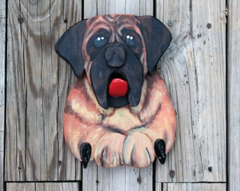 Bull Mastiff Leash Holder, dog lover gift, dog Home Decor, Dog Leash Holder, Dog Leash Hanger