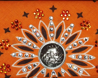 Swarovski Crystal Orange  Flame Skull Bandana