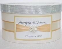 Card box / Wedding Box / Wedding money box with nameplate - ecru, gold