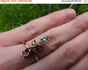 DEADsy LAST GASP SALE From Russia with Love : Antique Soviet Diamond Engagement Ring, Rose Gold, Flower with Petals, .40ct Diamond with Rose