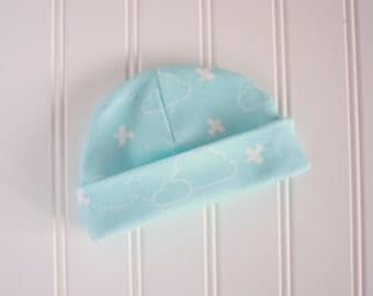 Organic Cotton Baby Hat in Aqua Blue and White - Aqua Airplanes - Organic Baby Beanie in Designer Airplanes in Clouds Print - READY TO SHIP!