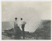 Vintage Snapshot Photo: Couple on the Rocks, Early 1900s (610509)