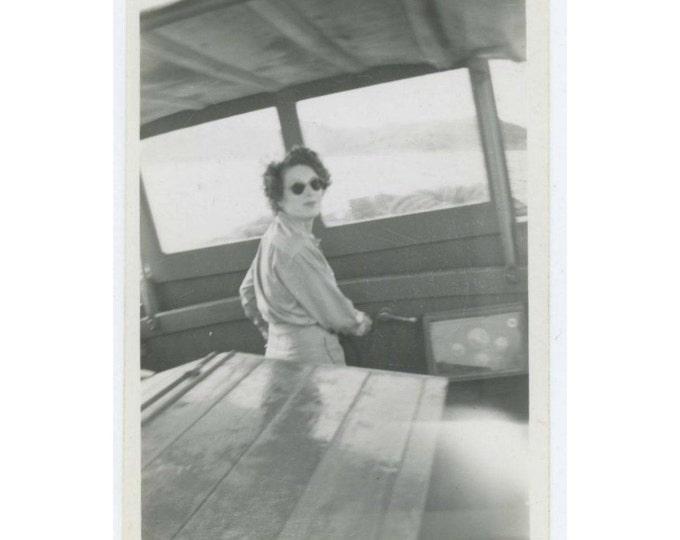 Vintage Snapshot Photo: Helmswoman, 1940s (69500)