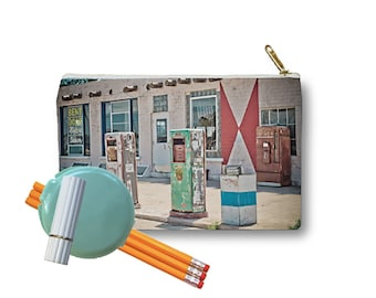 Clutch Bag Zippered Pouch Midway Station Rt. 66 Adrian Texas Retro Gas Pumps