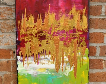Original Abstract Acrylic Painting on 15 x 30 inch canvas by artist Missy Kaza--Bright Fun Colors!