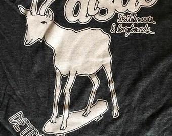Algae Skateboards ScreenPrinted Tee Shirt - Skater Goat - Grey Heather S, M, L, XL