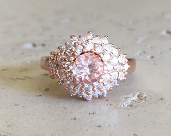 Art Deco Morganite Ring- Statement Ring- Solitaire Ring- Morganite Ring with Cz- Unique Ring- Engagement Ring- Anniversary Ring-Ring for Her