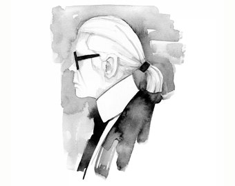 Karl Lagerfeld, print from original watercolor and mixed media fashion illustration by Dena Cooper