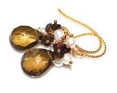 Cognac Quartz Earring Cognac Earring Quartz Jewelry Smoked Opal Earrings Black Opal Earrings Brown Opal Jewelry Holiday Style