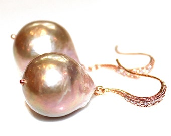 Pearl Bridal Earring Classic Pearl Wedding Earring Rose Gold Bridesmaid Iridescent Pearl Baroque Pearl Earring Large Pearl Earring Baroque