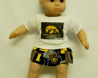 "Iowa Hawkeyes ""Herky"" Outfit For 16 Inch Doll Like The Bitty Baby"