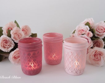 Valentines Day Decor Candle Holders Painted Mason Jars Pink Red Home Decor