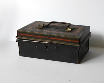 Vintage Metal Cash Box Small Bank with handle Petty Cash