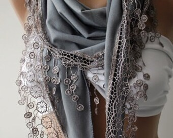 Gift for Her Grey Cotton Scarf Venice Lace Winter Scarf Mom Grandmother Teen Women Gift for Women Winter Scarves Cyber Monday